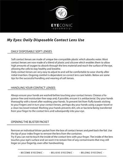 Daily Disposable Contact Lens Information sheet download