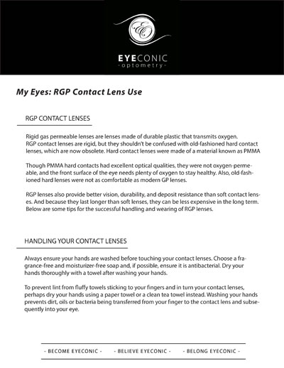 RGP Contact Lens Information sheet download
