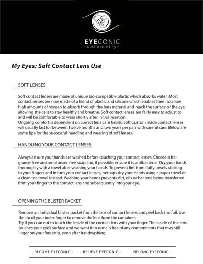 Soft Contact Lens Information sheet download